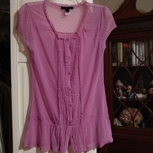 Express rose colored sheer blouse size M